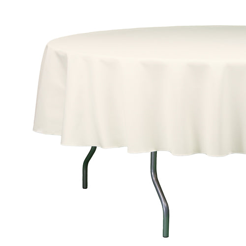 "Richland Round Tablecloth 90"" Ivory Set of 10"