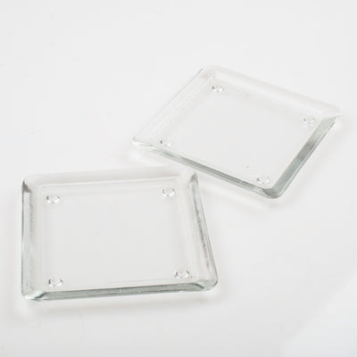 "Eastland Square Glass Pillar Plate 5"" Set of 12"