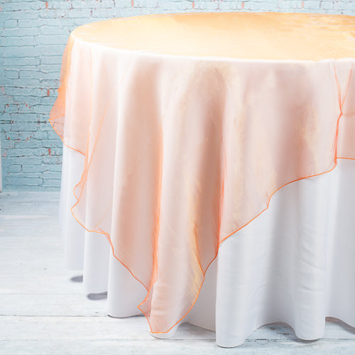 "Richland 72"" x 72"" Orange Organza Table Overlay"