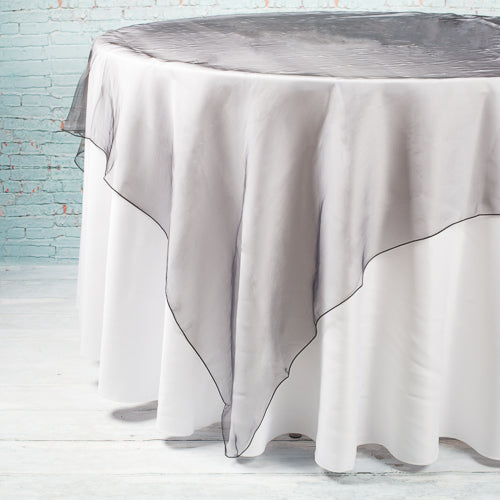 "Richland 72"" x 72"" Black Organza Table Overlay"