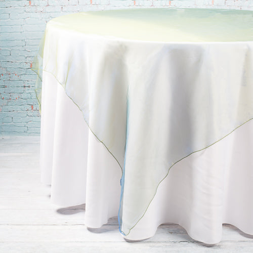 "Richland 72"" x 72"" Hunter Green Organza Table Overlay"