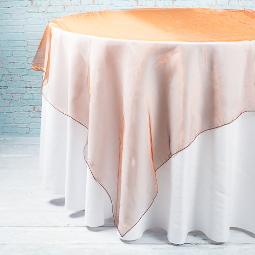 "Richland 72"" x 72"" Chocolate Organza Table Overlay Set of 10"