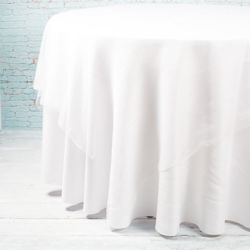 "Richland 72"" x 72"" Ivory Organza Table Overlay"