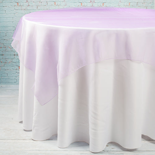 "Richland 60"" x 60"" Lavender Organza Table Overlay Set of 10"