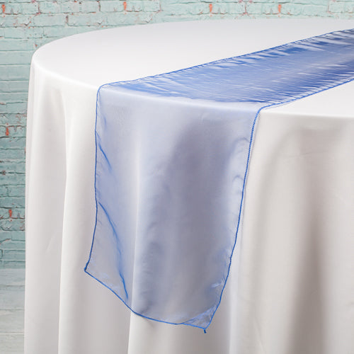 "Richland 12""x108"" Navy Blue Organza Table Runner Set of 10"