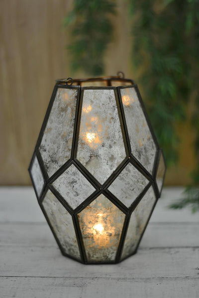 mid century modern candle lantern with chain hanger