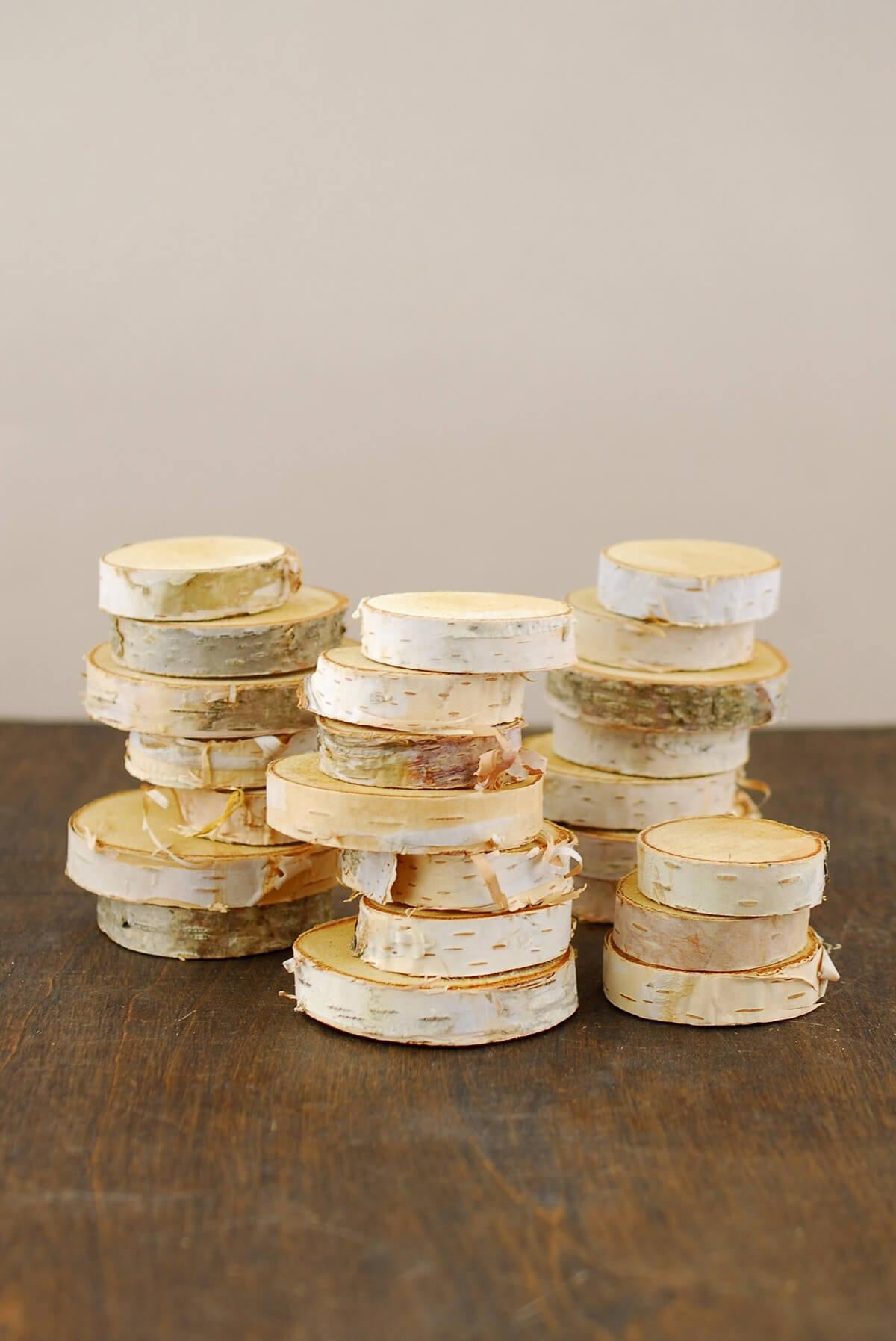 "24 Birch Tree Round Pieces  1.5"" -2.75"""