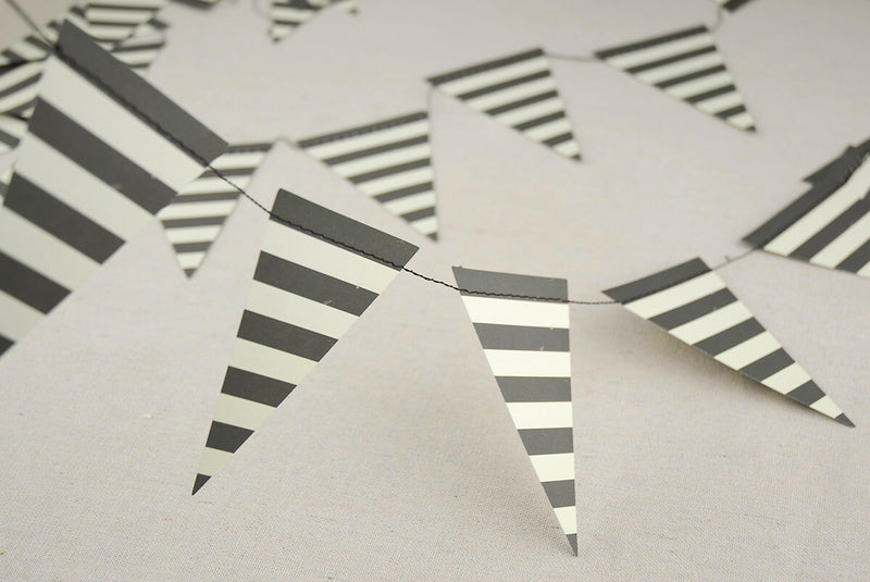 Black & White 8 Foot Striped Mini Banner Party  Decoration