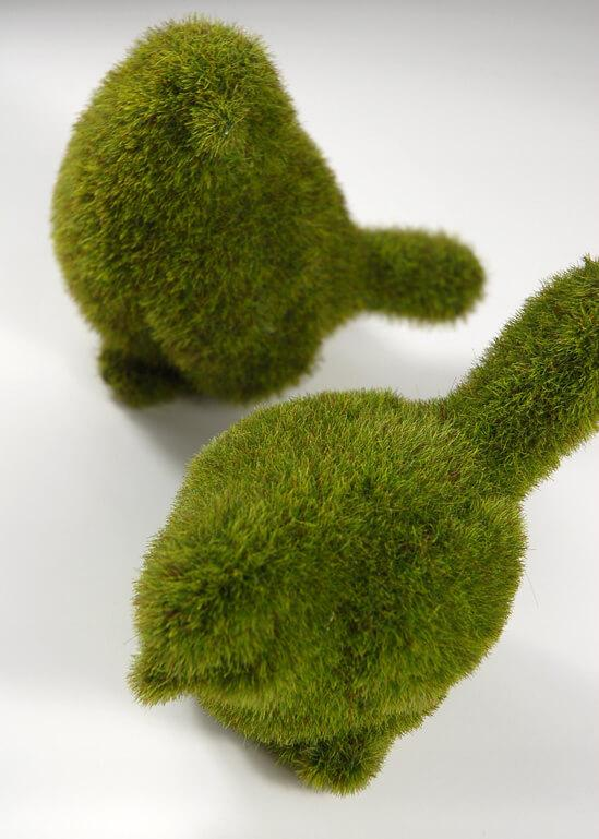 pair of faux moss birds 4in 5in