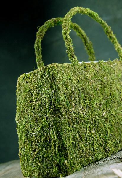natural preserved moss 12in purse with liner
