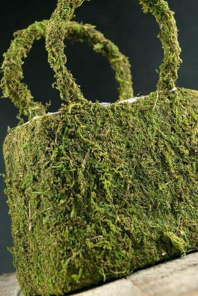 Natural Preserved Moss Covered Purse Planter 8-3/4in