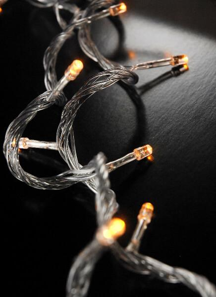 LED String Lights Amber Clear Cord 100CT  28ft, Multi Flicker Modes