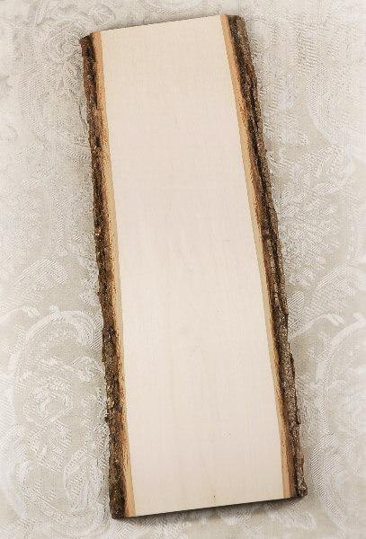 "Wood Plank with Bark 23"" x 9-11"""