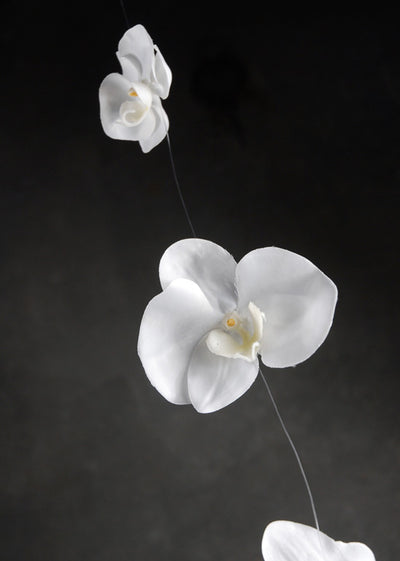 Silk Cream White Orchid Garland 5ft  10 Orchids