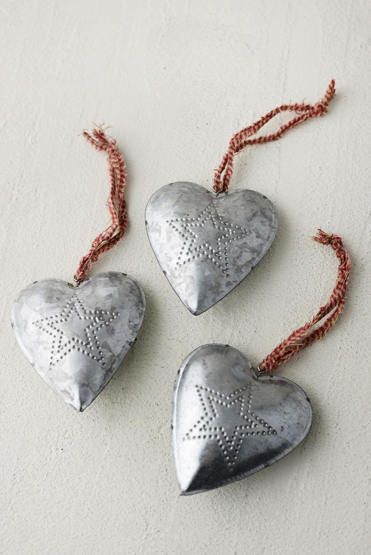12 Tinwork Heart Favors,  Hanging Punched Metal Heart with Gingham Ribbon