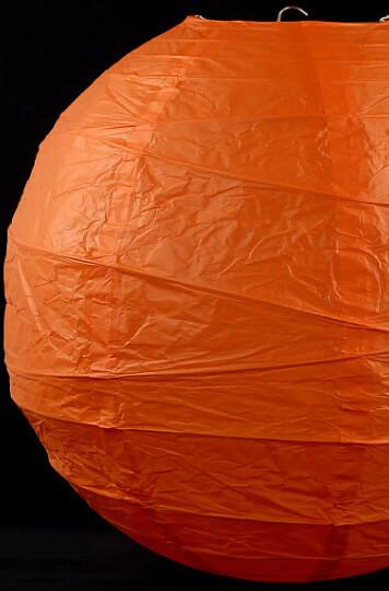 16 orange paper lanterns with bamboo ribbing