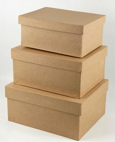 Paper Mache Boxes Set of 3