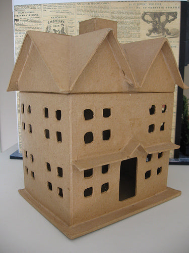 "Paper Mache Houses Set of Three 12.5"" , 8"" and 6"""