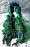 blue green feathered peacocks set of two 8