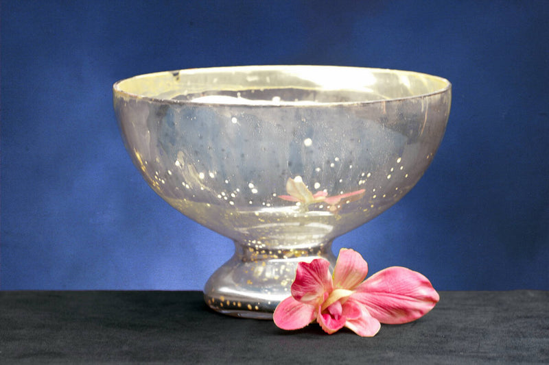 Bowl Glass Pedestal Silver Mercury 7.25in