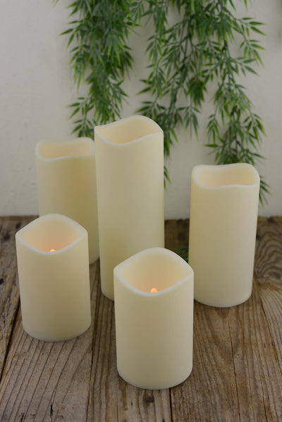 "Flickering Wavy Edge LED Pillar Candles (Set of 5) Battery Operated 4""-8"", Timer"