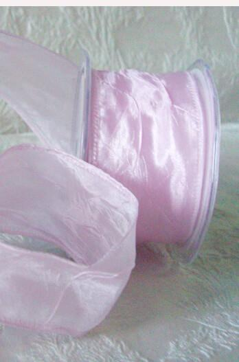 "Pink Crinkled Satin Ribbon 2"" x 27ft"