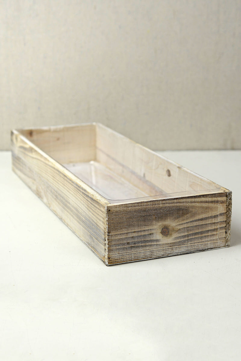 white washed wood 18x6x3 planter box