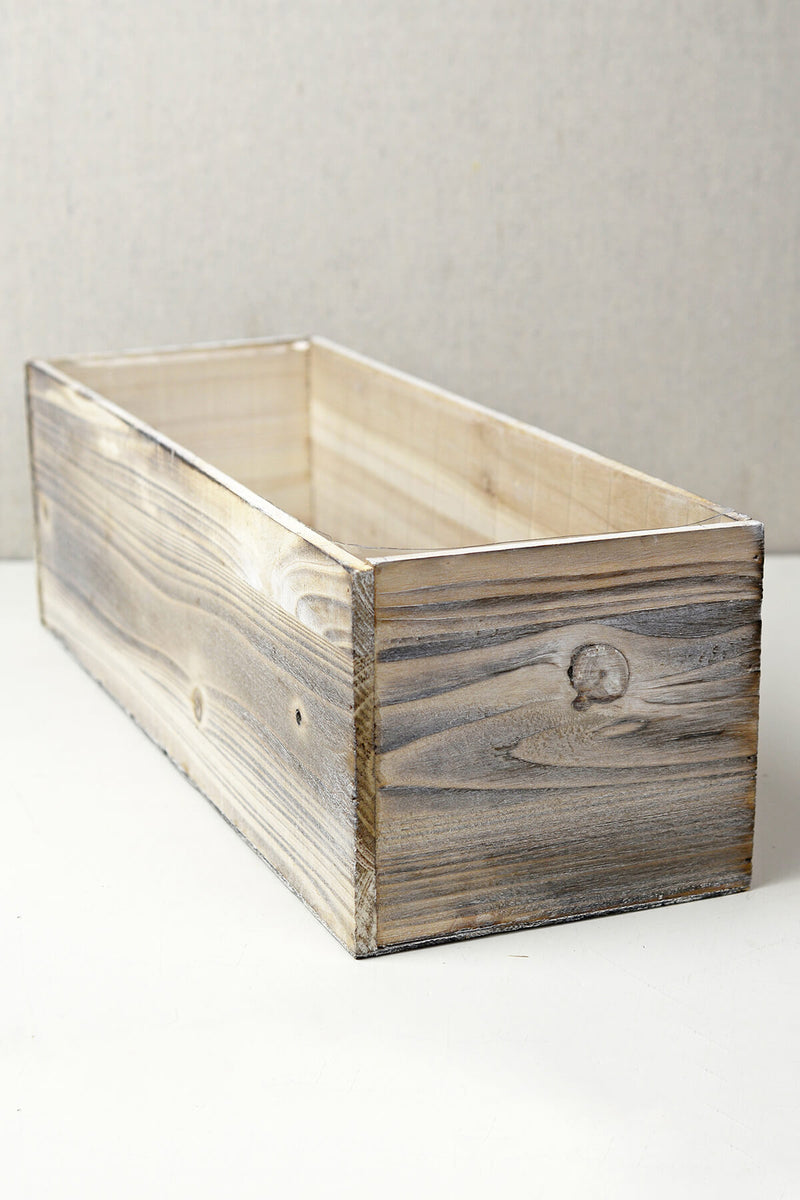 white washed wood 18x6 planter box