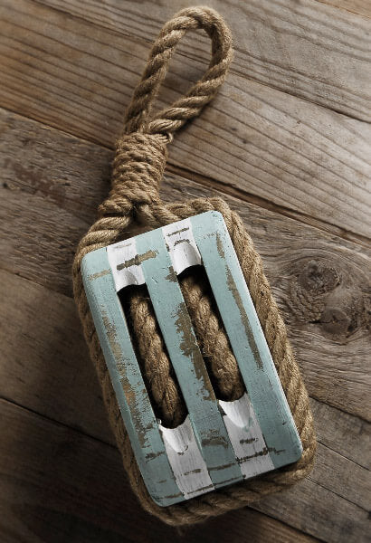 Pulley Nautical Wood 16in