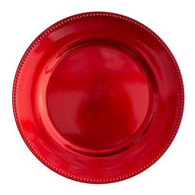 "Richland Beaded Charger Plate 13"" Red Set of 24"