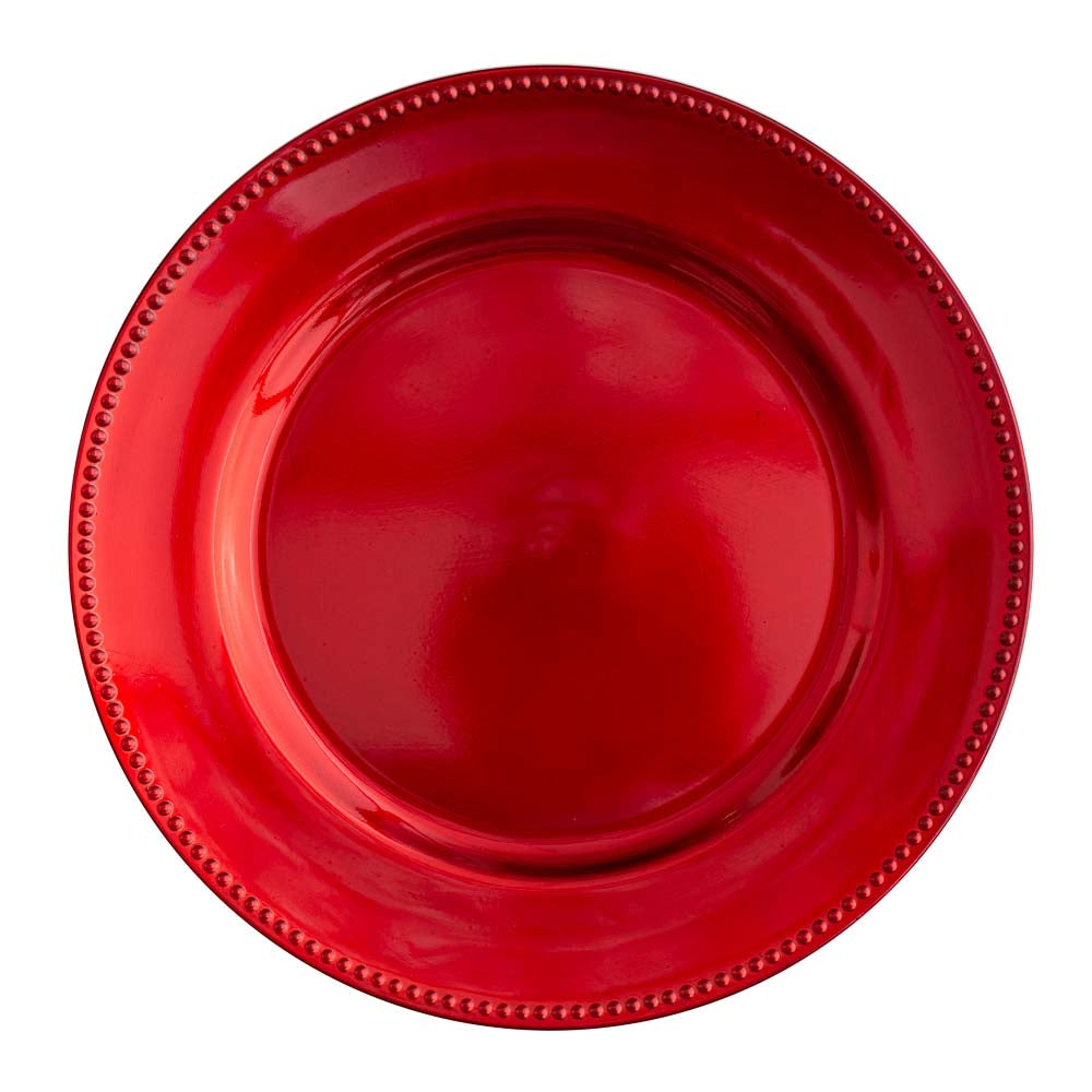 "Richland Beaded Charger Plate 13"" Red Set of 48"