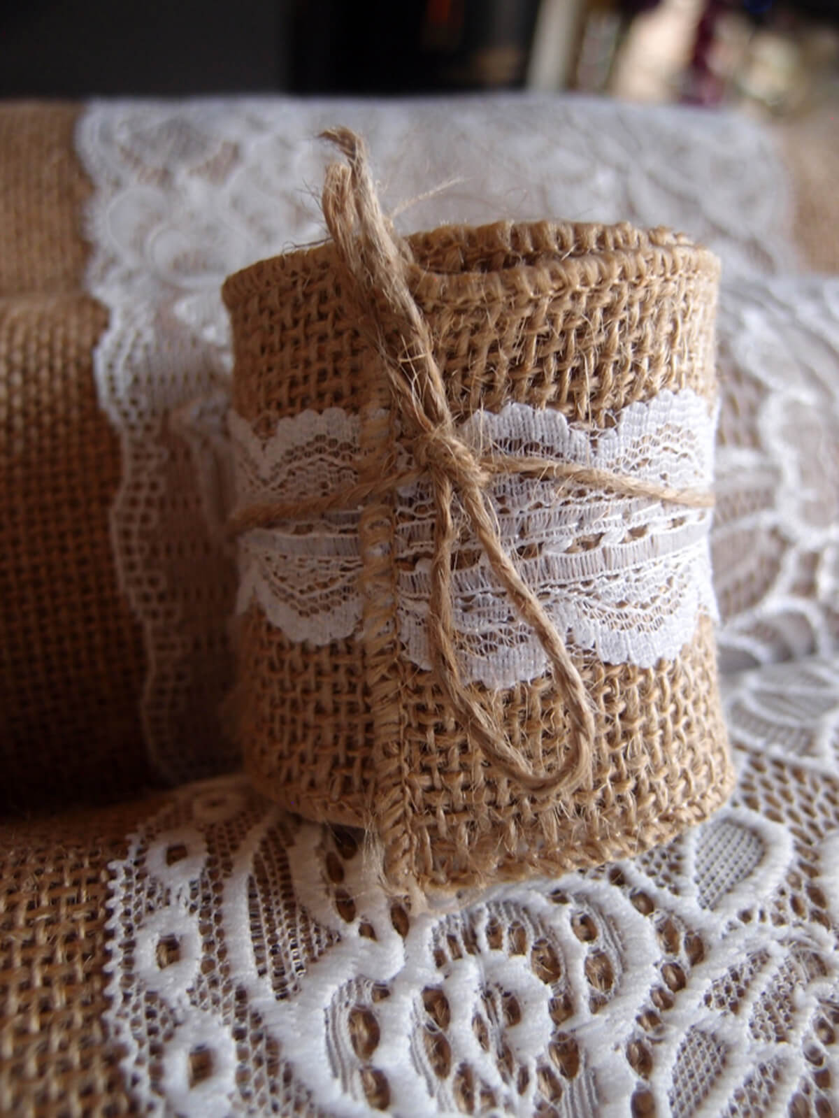 "Burlap & Scalloped Lace Trim Ribbon 2"" width x 6 ft"