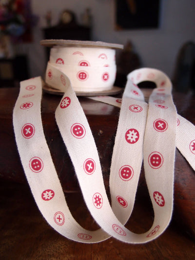 Red Button Cotton Ribbon 5/8in x 10yd Red & Ivory