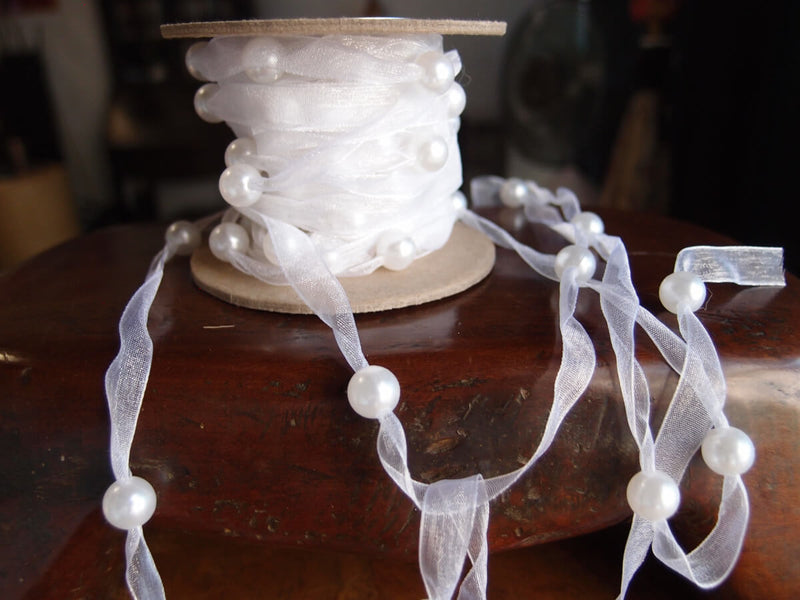 "White Organdy with Pearls 3/8"" x 9 YDS"