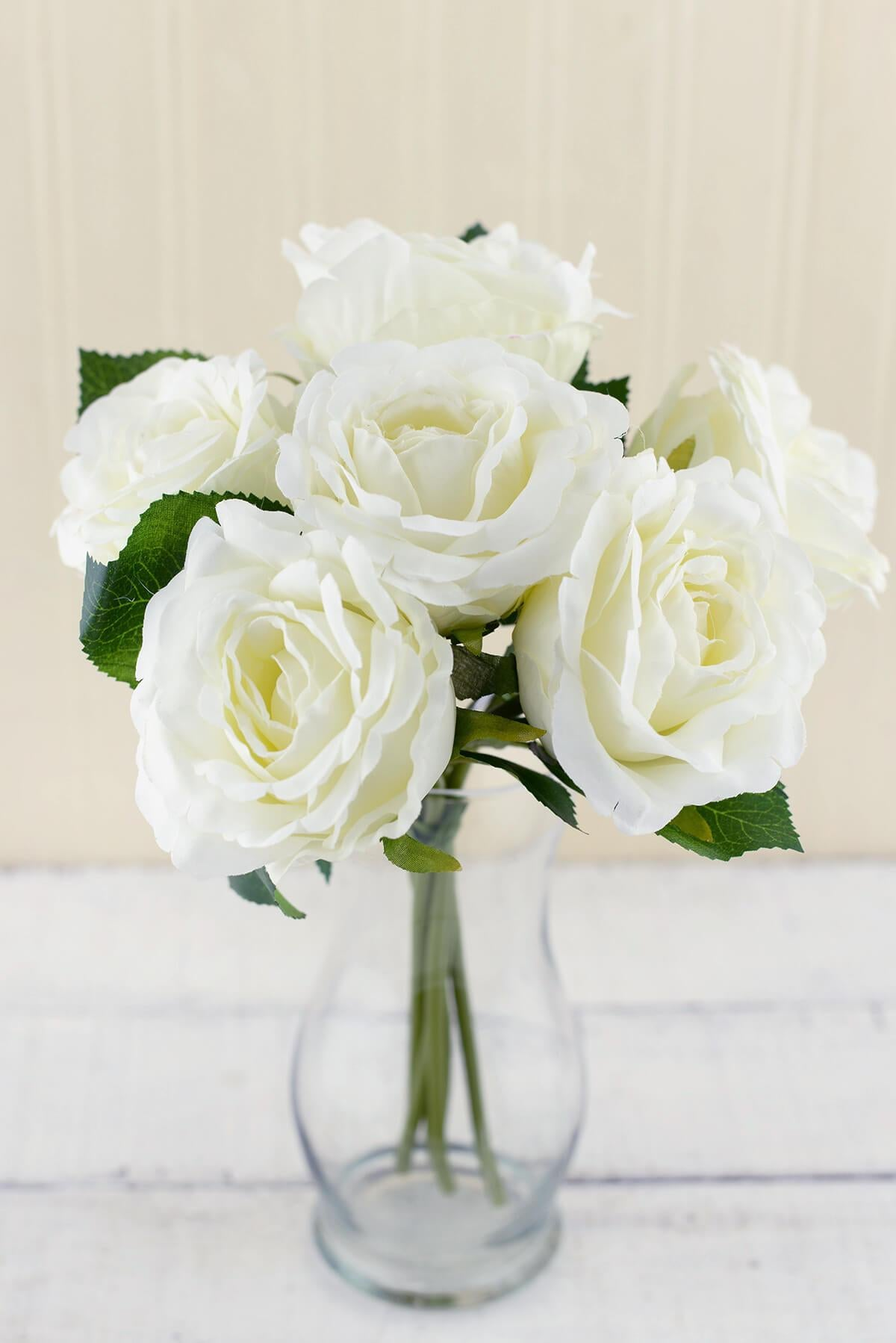 Cream White Silk Flower Rose Bouquet