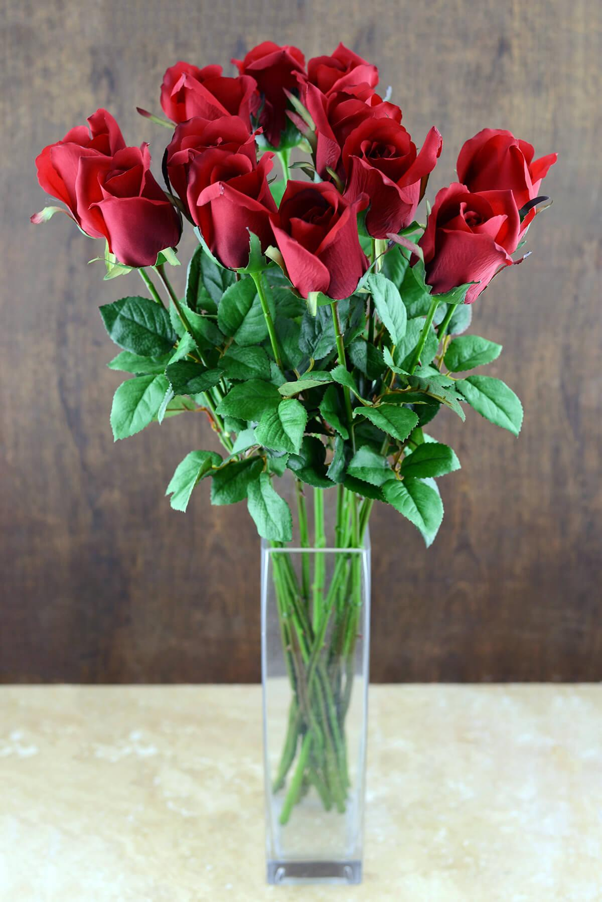 Dozen Long Stem Red Roses,  Artificial Roses
