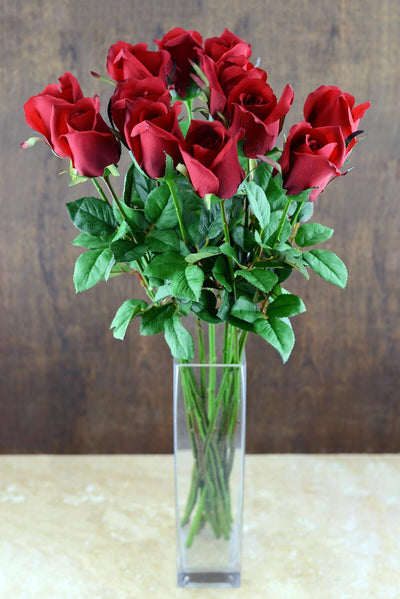dozen long stem red roses artificial roses