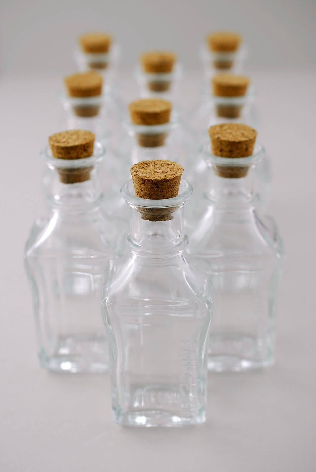 small glass bottles with cork 3 9in pack of 10