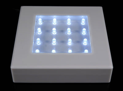 "White 5"" Square Light Base 16 LEDs Cool White, Battery Operated"