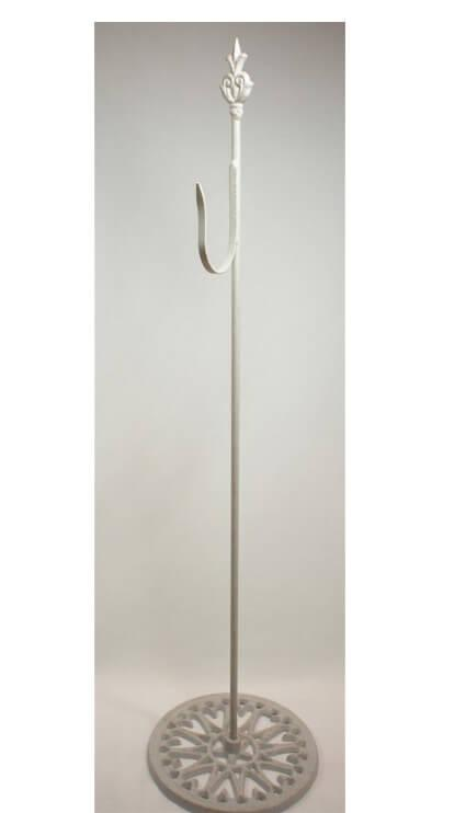 Shepherds Hook - White Free Standing Wrought Iron 30in