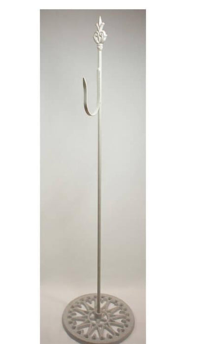 shepherds hook white free standing wrought iron 30in