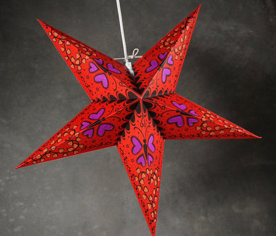 Star Lanterns Red Butterflys & Hearts 24""