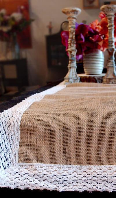 Table Runner Burlap Jute & Lace 14x108in