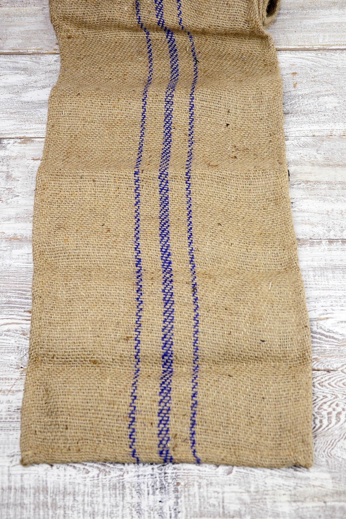jute table runner with purple stripes 14 x 72 in