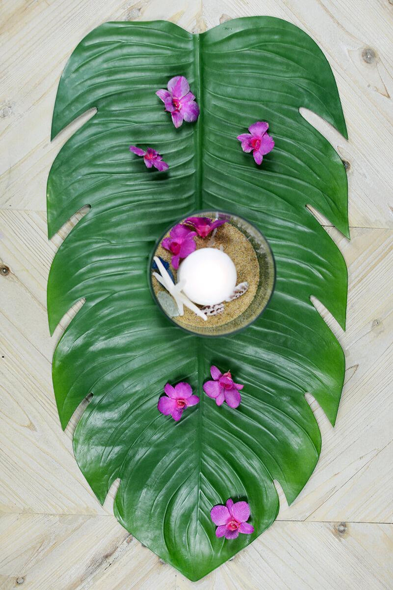 Monstera Leaf Tropical Table Runner 30""