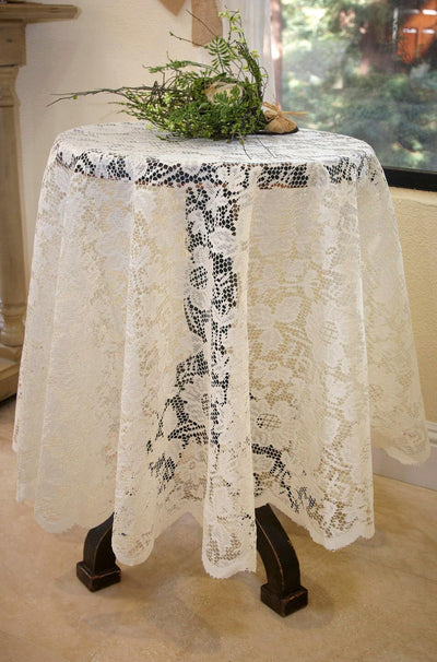 Tablecloth Lace Round Ivory 60""