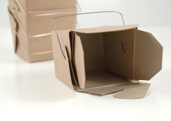 12 Tiny Kraft Paper Take Out Boxes  2.5in 16 oz.
