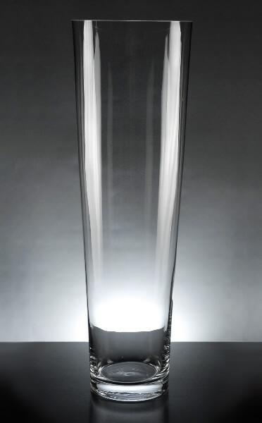 Voluminous 24 Inch Thick Glass Cylinder Vase