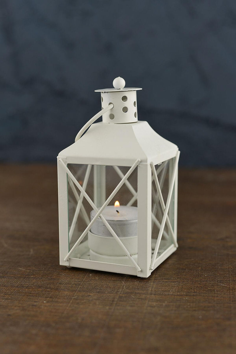 12 White Metal & Glass Tealight Lanterns