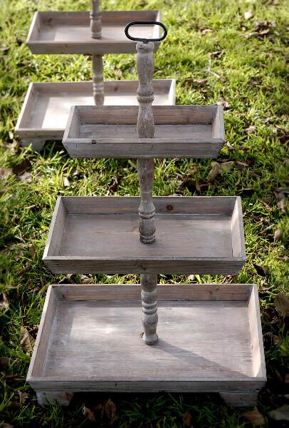 2 Rustic 3-Tier Stands 35in